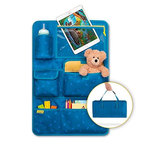 Laleni Kinder Autositzorganizer, Rückenlehnenschutz - Autositzschoner, 8 Fächer, Tablet-Halter, blau (1er Set)