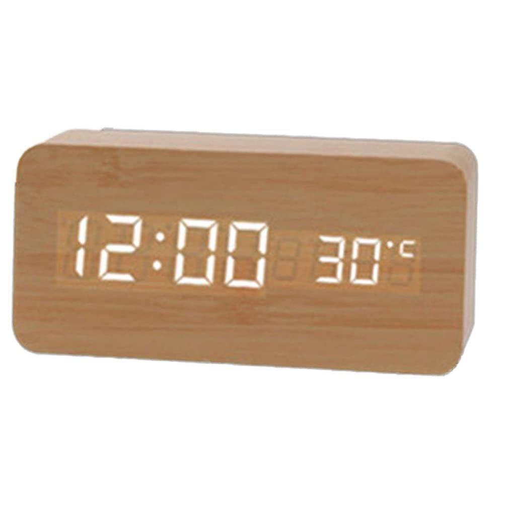眉割り当てる通信する目覚まし時計充電式のUSB生徒の寝室木造の家,ホワイトウッド