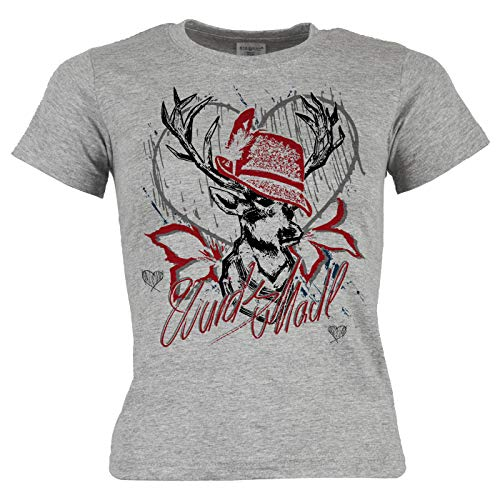 Bayrisches Trachten Kinder-Shirt - Trachten-Motiv Hirsch T-Shirt für Mädchen : Wuids MADL (Hut rot) - Volksfest/Oktoberfest/Tracht Kind Gr: L = 146-152