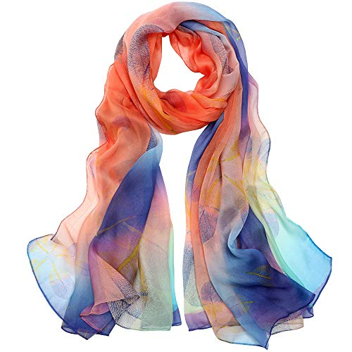 Foulard Femme Soie de Mûrier 100% Léger Écharpe Cadeau Silk Scarf 175 x 65cm(Orange blue)