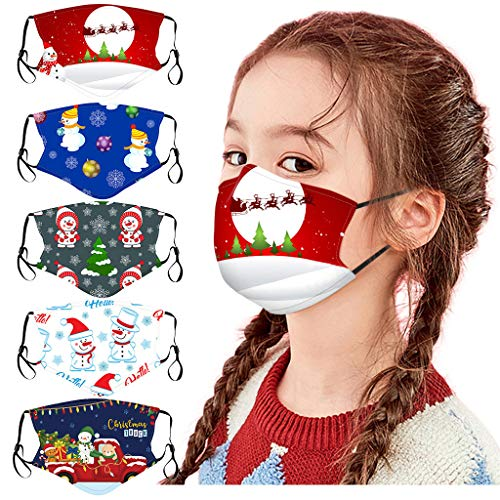 beautyfine 5PCS Christmas Kids Cotton Protective Mouth Shield, Adjustable Soft Elastic Earloop,Breathable and Comfortable, Dust and Haze, Washable and Reusable