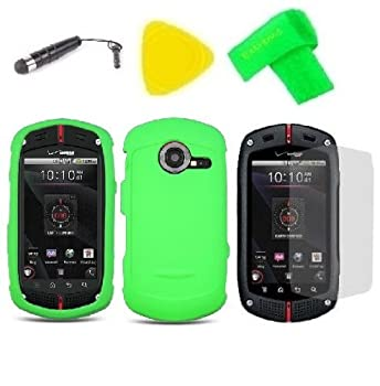 Neon Green Phone Case Cover Cell Phone Accessory + Yellow Pry Tool + Stylus Pen + Screen Protector + EXTREME Band for Verizon Wireless Casio G zOne Commando C771