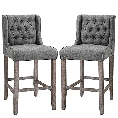 HOMCOM 40' Counter Height Barstools Tufted Wingback Armless Dining Kitchen Upholstered Chair with Rubber Wood Legs, Set of 2, Grey