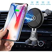 Wireless Car Charger, Air Vent Phone Holder Car Cradle Mount, Fast 10W Compatible for Samsung Galaxy S9/S9+/S8/S8+/S10/S10+/Note 8/9, 7.5W Compatible for iPhone Xs Max/Xs/XR/X/8/8+ [2019 Upgraded]