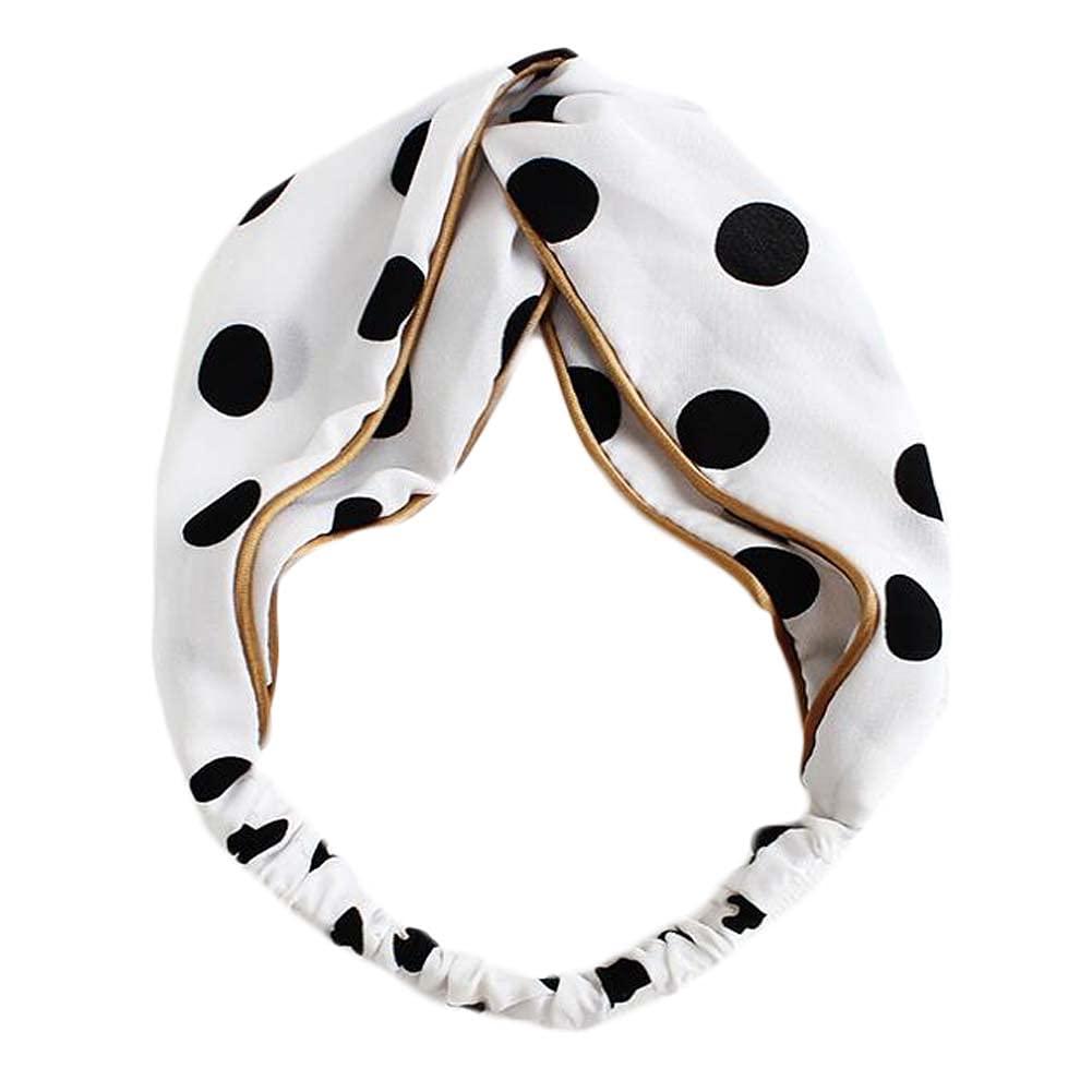 White Retro Polka Dot Criss Cross Hairband Sweet Wide Fabric Hair Ribbon Headband Hair Accessories Headwrap