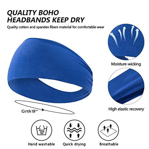 habibee 8 pcs Headbands for Women Men Sweatband Workout Non Slip Headband Elastic Moisture Wicking Hairband for Yoga Running fits Men & Women