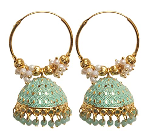 Pahal étnico Bollywood Jaipur Blue Cluster Pearl Painted Indian Big Gold Jhumka Pendientes de aro para mujer