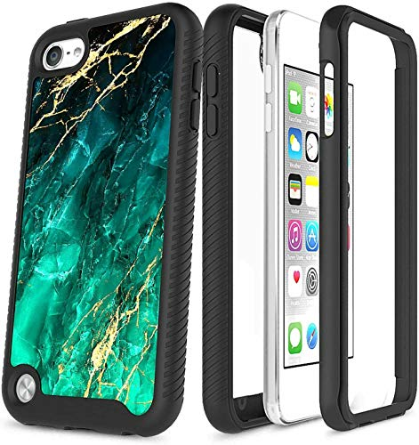 iPod Touch 7 Case, iPod Touch 5/6 Case with [Built-in Screen Protector], Front Frame, Drop Protection, Full-Body Protective Shockproof Bumper Cover for iPod Touch 7th/6th/5th Generation -Marble Green