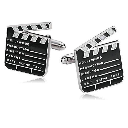 Coniea Gemelli Uomo 2Pcs Acciaio Inossidabile Gemelli Uomo Teschio Ciak Film Ciak Bianco Nero