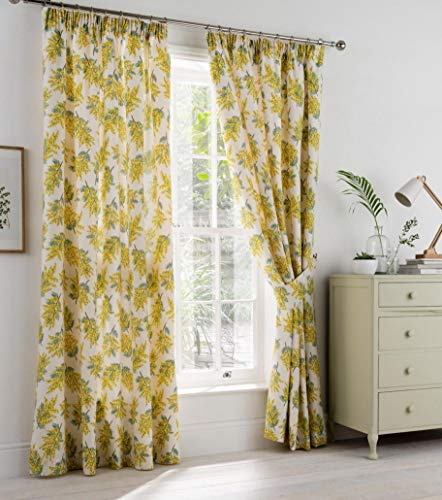 """Cath Kidston Mimosa Flower Yellow Cream Lined 46"""" X 54"""" - 117cm X 137cm Pencil Pleat Curtains Drapes"""