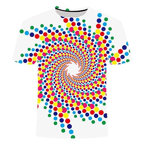 WWDDVH Coloré Vertigo Hypnotic Impression T-Shirt Unisexe Drôle T-Shirts À Manches Courtes Hommes/Femmes Tops Paisley 3D T-Shirt