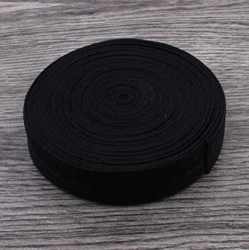10yds / roll 5/8'cm Plegable sólido sobre accesorios elásticos para el cabello FOE elástico para cintas para el cabello Diadema DIY Headwear, negro