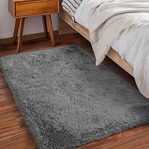 Amangel Ultra Soft Rugs for Bedroom, Luxurious Fluffy Area Rug, 3' x 5', Plush Rugs for Living Room, Non-Slip Fuzzy Rug for Kids Room, Girls Room, Nursery Decor Rugs, Shaggy Bedside Rug, Grey