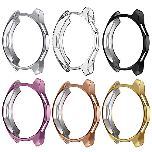 Case Compatible Samsung Galaxy Watch 42mm, NaHai TPU Slim Plated Case Shock-Proof Cover All-Around Protective Bumper Shell for Galaxy Watch 42mm Smartwatch, 6 Packs