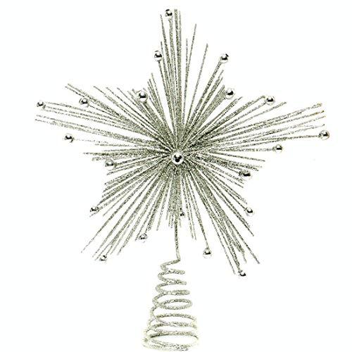 Festive productions - Punta per albero di Natale a forma di stella con raggiera glitterata, 20 cm, color argento, 176663
