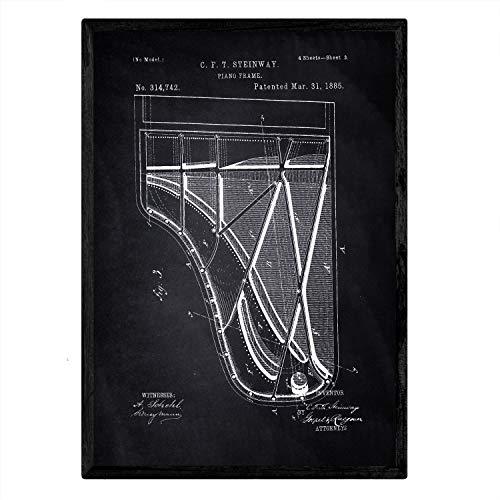 Nacnic Poster con Patente de Piano 2. Lámina con diseño de