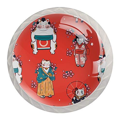 Perillas de cristal para armario de cocina, armario, puerta, cajones, gatos, ropa japonesa, paquete de 4