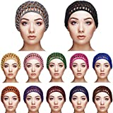 12 Pieces Mesh Crochet Hair Net Crocheted Hair Net Cap Soft Rayon Snood Hat Thick Short Women Hairnet Snoods Cover Ornament for Sleeping, 12 Colors