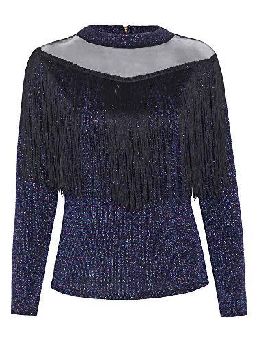Vrouwen glittery metallic blouse kwasten uithollen mesh lange mouwen Shiny Swing Party Holiday Street Casual Tops