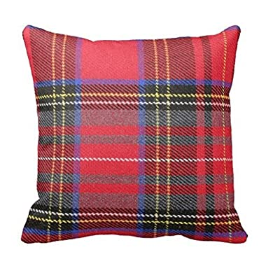 DKISEE Red Tartan Plaid Throw Pillow Cover Cushion Case 18