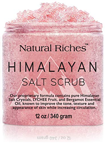 Natural Riches Himalayan Salt Body Scrub - (12 Oz / 340 gm) - Deep Cleansing Exfoliator, All-Natural exfoliate with Vitamin C, Bergamot and Lychee Essential Oils