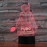 Genial juego de FPS desconocido Desconocidos Battlefields 3D lamp Ganador de PUBG Winner Chicken dinner Lector de lámparas LED