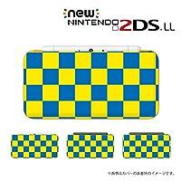 【Newニンテンドー2DS LL 】 カバー ケース ハード ブロックチェック 青 黄色