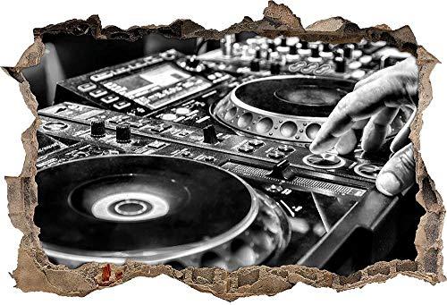 KAIASH Pegatinas de Pared Monocrome Moderno Iluminado DJ Escritorio Apertura de la Pared en Apariencia 3D Etiqueta de la Pared o de la Puerta Etiqueta de la Pared Decoración de la Pared 92x62cm