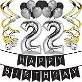 """Sterling James Co. Paquete para Fiesta de Cumpleaños Número 22 """"Happy Birthday""""- Paquete con Banderín de Feliz Cumpleaños Negro y Plateado, Globos y Serpentinas- Decoración para Cumpleaños"""