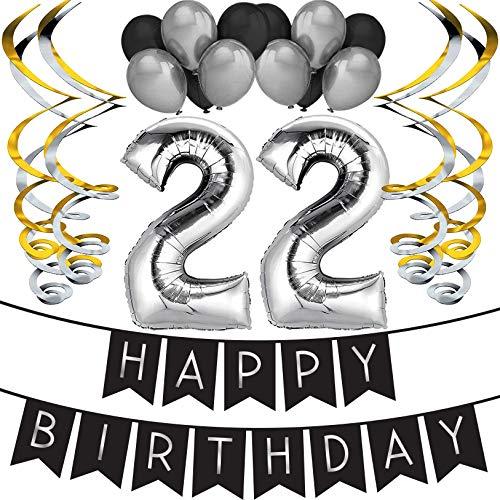 Sterling James Co. 22. Geburtstag Party Set – Schwarz & Silber Happy Birthday Girlande, Poms und Spiralgirlanden – Lustiges Geschenk Deko