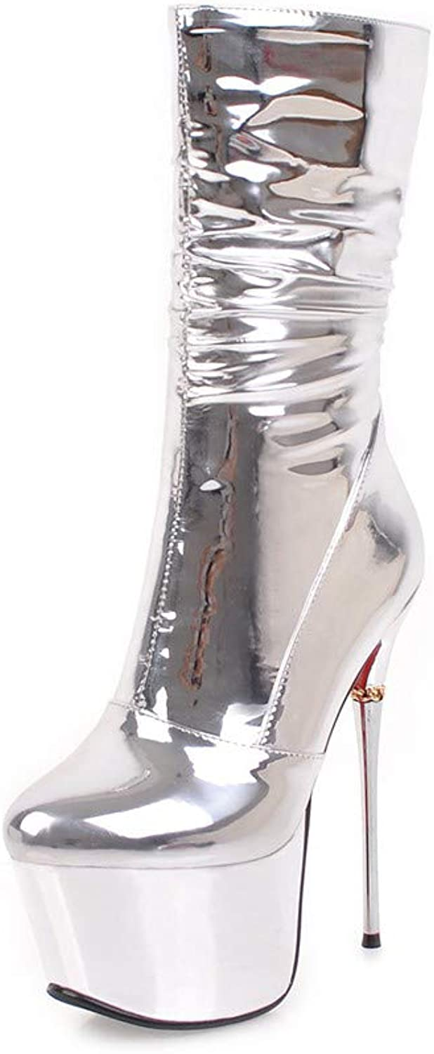 Original Intention Sexy Women Mid Calf Boots Metal High Heels Plus Size shoes for Woman