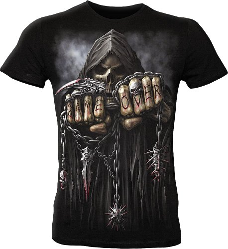 Game Over T-Shirt tailliert Gothic Biker Style, Grösse:XL