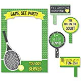 Big Dot of Happiness You Got Served - Tennis - Baby Shower or Tennis Ball Birthday Party Selfie Photo Booth Picture Frame & Props - Printed on Sturdy Material