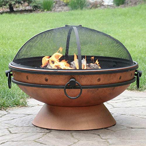 30' Fire Pit Steel with Copper Finish with Handles and Spark Screen | Happy Parents Depot