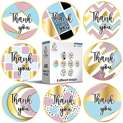 """600pcs 1.5"""" Thank You Stickers / 8 Different Designs with Gold Foil / 600 Thank You Stickers Per Roll / Roll Sticker Supplies for Business Packaging (8 Design Roll Stickers, 600pcs)"""