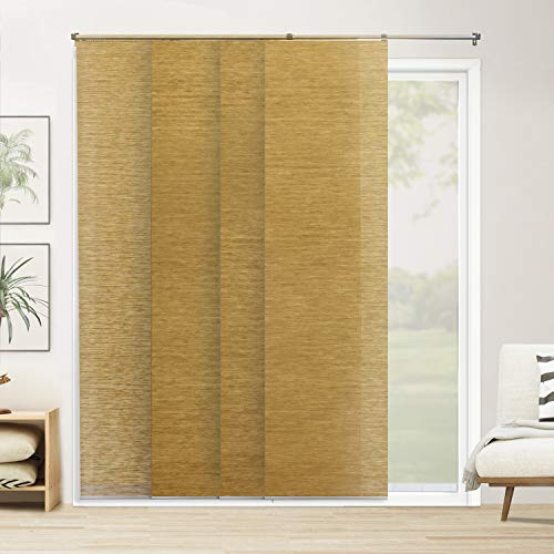 CHICOLOGY Adjustable Sliding Panels Cut to Length Vertical Blinds, Up to 80' W X 96' H, Carlisle Saffron (Natural Woven)