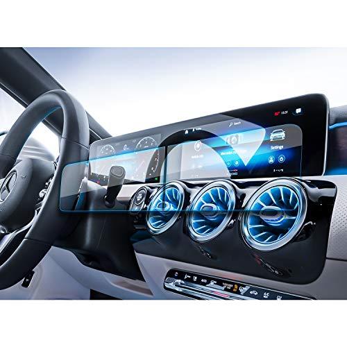 YEE PIN Protezione dello Schermo in Vetro temperato per Mercedes Benz A-Classe W177 V177 B-Classe W247 2019 2020 - Pellicola protettiva per navigazione GPS antigraffio