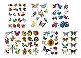 GGSELL GGSELL Tatuaje para niños, 7 unidades, tatuajes temporales en un paquete, incluyendo flores de colores, mariposas, pájaros, libélulas, abejas, abejas, patos, pollos, insectos, etc.