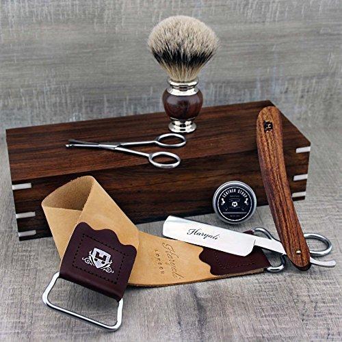 Classic Men s Shaving Set with Straight Razor, Silver Tip Shaving Brush, Trimming Scissors, Leather Strop & Paste in Wooden Box
