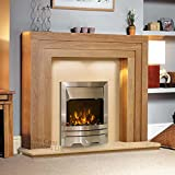 Electric Oak Wood Surround Modern Silver Brushed Steel Pebble Coal Fire LED Fireplace Suite Lights Spotlights 48""