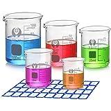 Wandefol Borosilikatglas Bechergläser Set mit klare Ausguss 5ml 10ml 25ml 50ml 100ml Meßbecher mit Zylinderbürste und Label Aufkleber für Schulwissenschaftliches Projekt und Party
