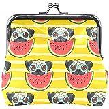 Monedero Pug Gafas para Perros Sandía Raya Amarilla Monedero Bolsas Monedero Cambio de Cuero Tarjeta Embrague Bolso