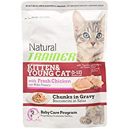 Natural Trainer in Salsa, Puffs With Fresh Chicken, for Cat and Kitten Young (1 – 12 Months), 85 g, 1 Envelope