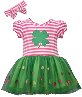 Girl's St Patrick's Day Outfit - Shamrock Tutu Dress with Headband for Baby, Toddler and Little Girls