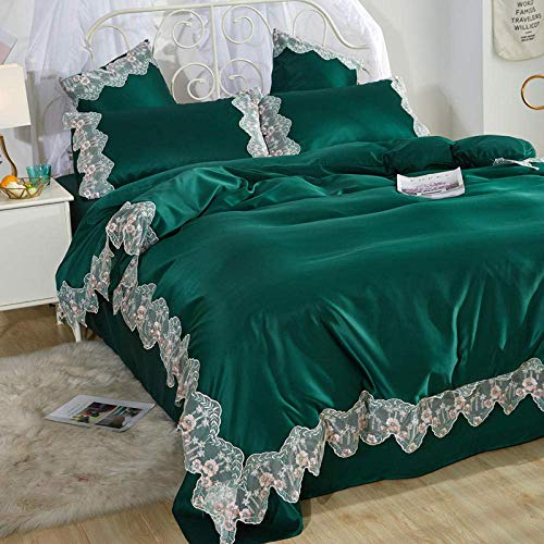 lqgpsx Summer Lace Quilt Cover Ice Silk Four-piece Silk Bed Linen Bedding,single Duvet Cover,king Size Bedding Set,brushed Cotton Fitted Sheet