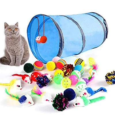 M JJYPET Cat Toys Kitten Toys Assortments(30 Packs),2 Way Tunnel,Cat Balls with Bells,Cat Feather Toy,Cat Mice Toy,Cat Crinkle Balls,Kitty,Kitten