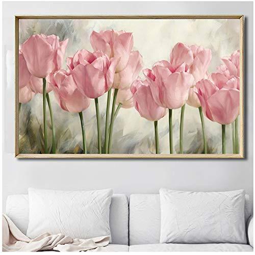 NIEMENGZHEN Druck auf Leinwand Rosa Tulpe Blumen Leinwand Malerei Plakate Wandkunst Bilder für Wohnzimmer Schlafzimmer Esszimmer Wohnkultur 50x70cm Kein Rahmen