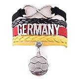 EROSPA® Fußball Deutschland Fan-Armband Unendlichkeit - WM 2018 Russland - Damen Herren Unisex - Kunstleder