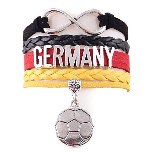 EROSPA® Fußball Deutschland (Germany) Fan-Armband Unendlichkeit - WM 2018 Russland (Russia) - Damen Herren Unisex - Kunstleder/Velvet (Samt) - schwarz/rot/gelb