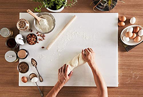 JEmarble Pastry Board 12x16 inch(Pearl White) with No-Slip Rubber Feet for Stability